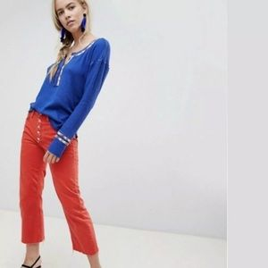 Free People Rainbow Thermal Henley Blue Top